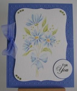 watercoloured blue daisies