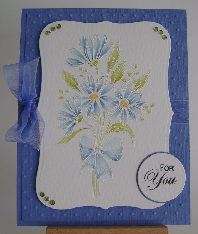watercoloured blue daisies
