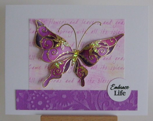 gold hologram butterfly painted in purple