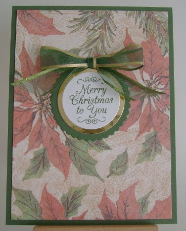 merry christmas sentiment on poinsettia background paper