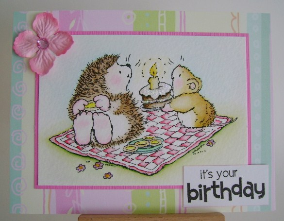hedgie and mouse having a birthday picnic