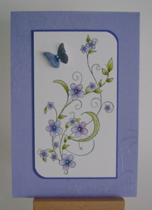 purple blue and pink forget me nots on purple base