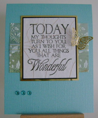 birthday sentiment on blue with gold butterfly