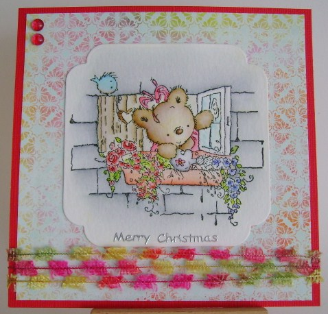 teddy watering window box flowers christmas card