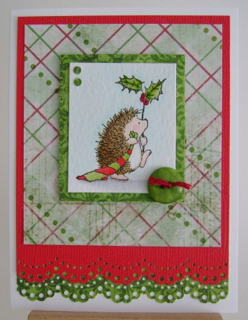 hedgie with red and green stocking