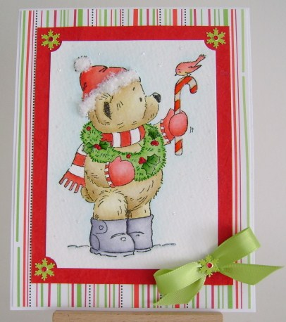 teddy with candy cane and bird