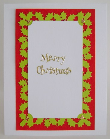 inside of teddy card with holly punched border
