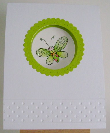 lime green butterfly in circle window