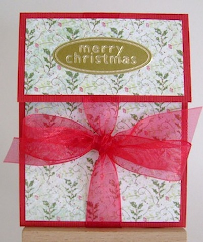 red with holly paper gift card holder