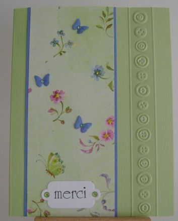 green floral with blue butterflies