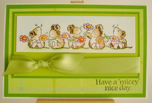 mice with flowers in 70s greens