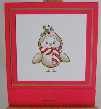 winter bird with candy cane striped scarf