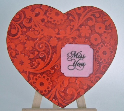 heart shaped card with miss you sentiment