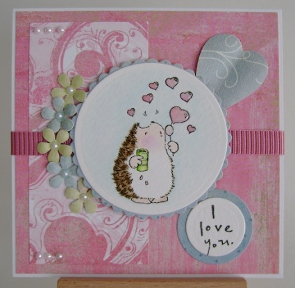 hedgehog blowing pink heart bubbles with i love you sentiment