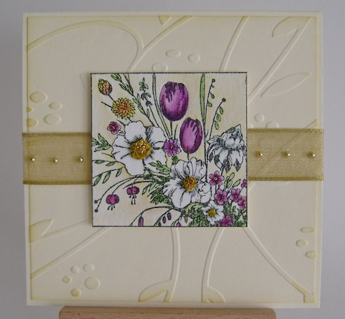 spring bouquet square image on embossed square background with gold ribbon and gold pearls
