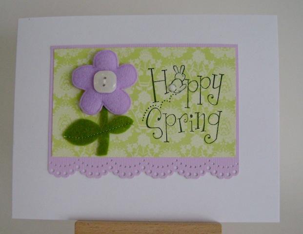 hoppy spring sentiment with bunny and purple felt flower
