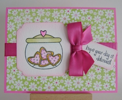 cookie jar with pink and orange heart cookies