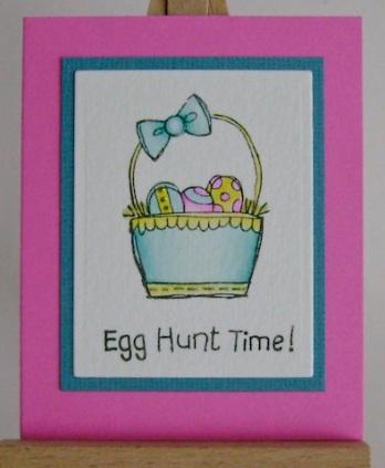 turquoise easter basket with egg hunt time sentiment