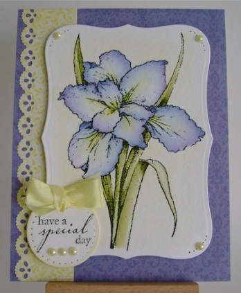 purple and blue iris flower with pearls and yellow ribbon trim