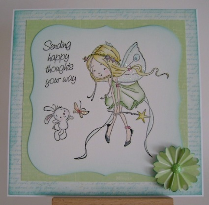 fairy and bunny fluttering with butterfly
