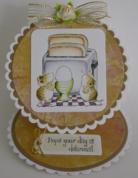 circle card with mice, toaster and soft boiled egg