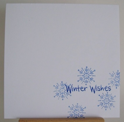 blue snowflakes on white with winter wishes sentiment