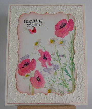 poppy field with daisies and butterfly along with thinking of you sentiment