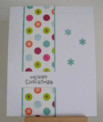 circles and snowflakes christmas card in bright orange, turquoise and pink