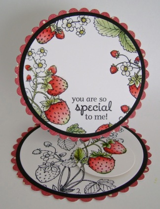 circle easel card with watercoloured strawberry image and sentiment, 'you are so special to me.'