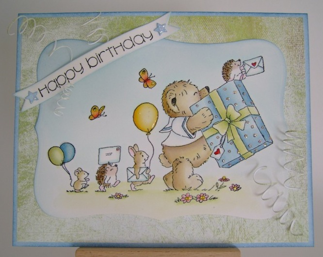 parade of teddy, rabbit, mouse, two hedgehogs carrying balloons and gift