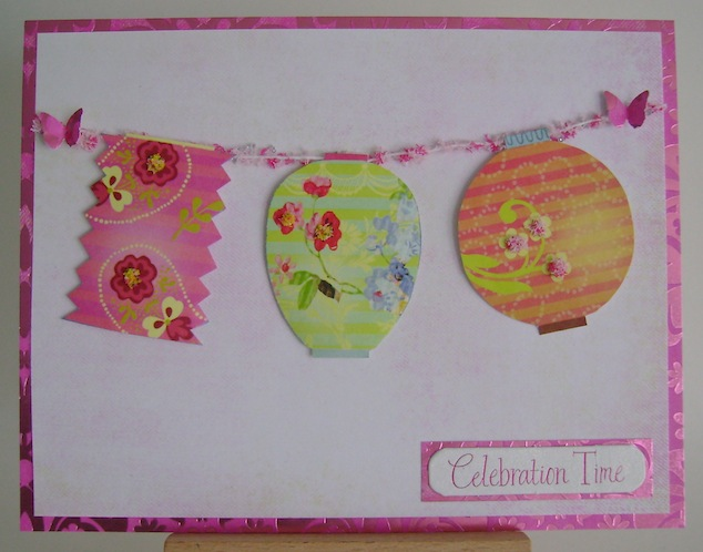 card with three patio lanterns in bright pink, green and orange with celebration time sentiment