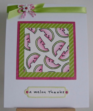 watermelons stamped several times in a square and watercoloured, plus ribbon and a melon thanks sentiment
