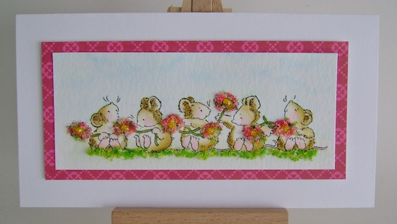 a row of mice making a daisy flower chain with a pink border on rectangle card