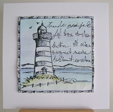 lighthouse in black and white against a blue wash on white square card base