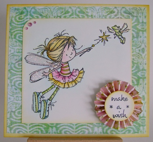 fairy with frog and make a wish sentiment