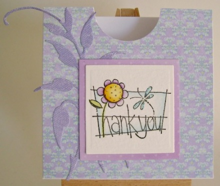 memo box decorated with purple paper, a yellow flower and a thank you sentiment