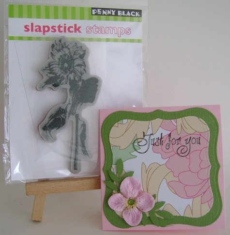 sunflower stamp and pink and green card prize from penny black at allsorts challenge