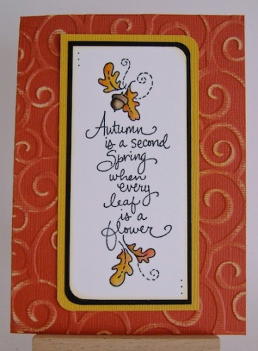 autumn card in gold and rusty colours with leaves and sentiment