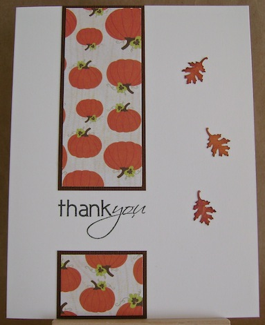 thank you card with pumpkins, punched oak leaves and thank you sentiment