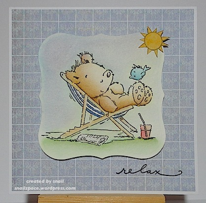 card with teddy relaxing in a deck chair with a bluebird on his foot and sun shining