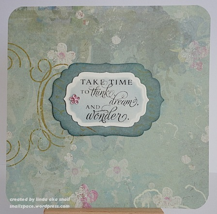floral card with sentiment in blue green and pink
