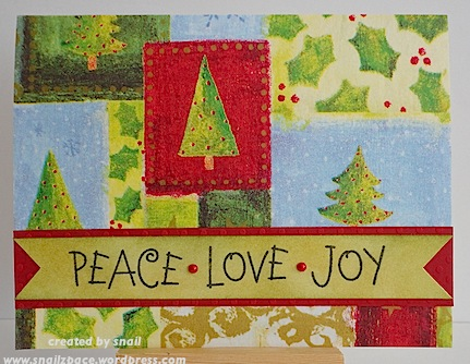 christmas card with patchwork background and peace love joy sentiment