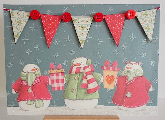 card with three snowmen and pennant banner with red buttons