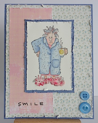 card with grumpy lady holding a smiley mug
