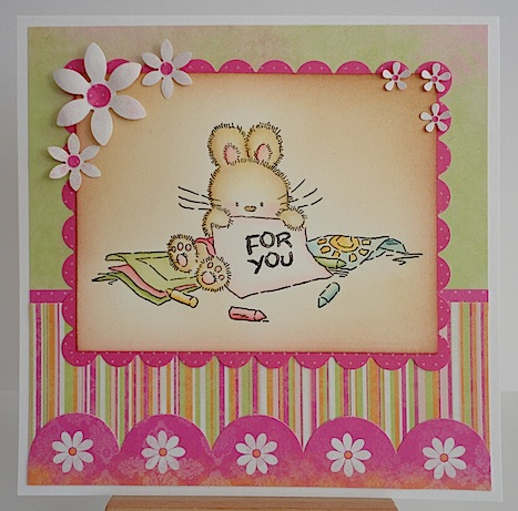 pink and green card with bunny and for you sentiment