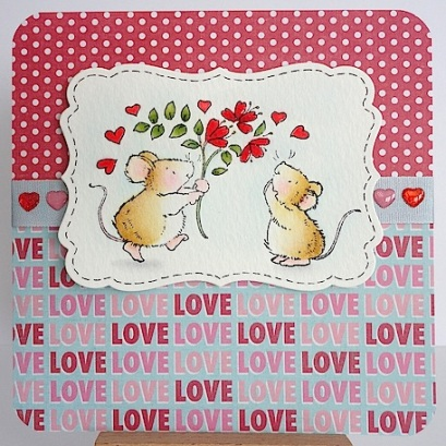 card with two mice and bouquet with love sentiment