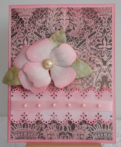 card with pink magenta dogwood flower on pink and brown lace paper