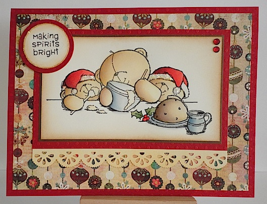 card with three teddies making plum pudding