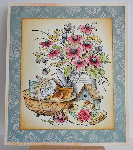 card with spring flower bouquet, bird house and basket with seeds