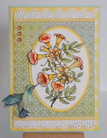 card featuring flourishes trumpet vine with hummingbird